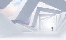 Abstract White Tunnel Perspective With A Man