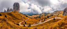 Majestic Cinque Torri In Dolomie Alps During Sunset. Stunning Panoramic View On Five Towers Group, Overcast Sky And Foot Road. Amazing Nature Lanscape Background. Dramatic Sunrise In The Mountains.