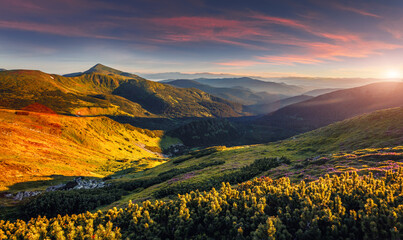 Wonderful atmosferic nature landscape of Carpatian moutains. stunning image morning picturesque scenery. vivid natural background. Awesome Alpine highland during sunset. used as background, wallpaper