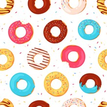 Donuts Seamless Pattern. Sweet Summer Print With Glazed Doughnuts. Bitten Donut With Pink Icing And Sprinkles. Bakery Dessert Vector Texture