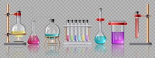 Realistic Laboratory Equipment. Glass Tubes, Flasks, Burner And Beaker With Chemicals On Holders. Chemistry Lab Test Experiment Vector Set