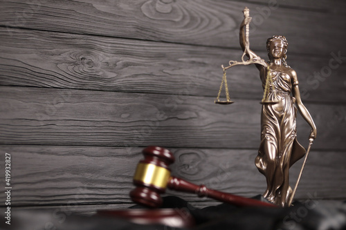 The Statue of Justice - lady justice or justitia the Roman goddess of Justice Wallpaper Mural