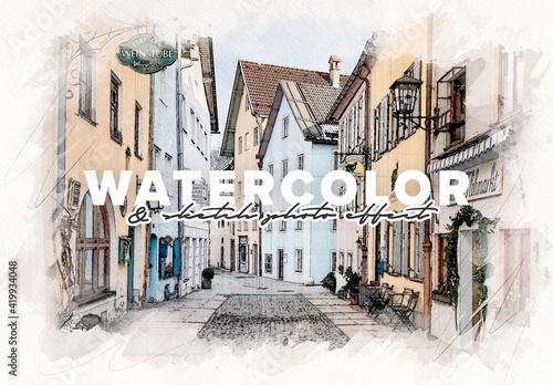 Obraz Watercolor and Pencil Sketch Photo Effect Mockup - fototapety do salonu