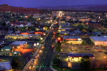 An Overview Of St George At Night, Utah.