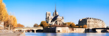 Paris, Panorama Over Water With Notre-Dame Cathedral