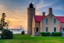 Old Mackinac Point Lighthouse On The Shore Of Straits Of Mackinac, Michigan