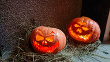 Halloween's Holiday Attributes. Lantern Carved From Pumpkin Known As Jack-o'-lantern