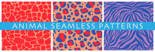 Set Of Vector Seamless Patterns Of Decorative Animal Prints. Abstract Stripes And Spots Similar To The Skin Of A Leopard, Giraffe, Tiger, Crocodile. Flat Hand Drawn Illustration For Textile, Paper.