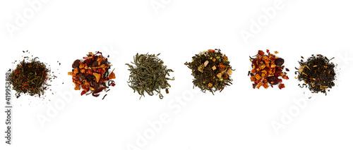 Fototapeta assortment of tea isolated on white background obraz