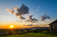View From A Suburban Hilltop Home In Liberty Lake Overlooking The Cities Of Spokane And Spokane Valley, Washington, USA, At Sunset.