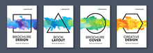 Watercolor A4 Booklet Colourful Cover Bundle Set With Geometric Shapes And Paint Splashes