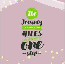 The Journey Of Thousand Miles Begin With One Step. Social Media Minimalist Quote Template Vintage Elegant Puzzle.