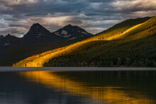 Lake McDonald At Sunset In Summer, Glacier National Park, Montana.