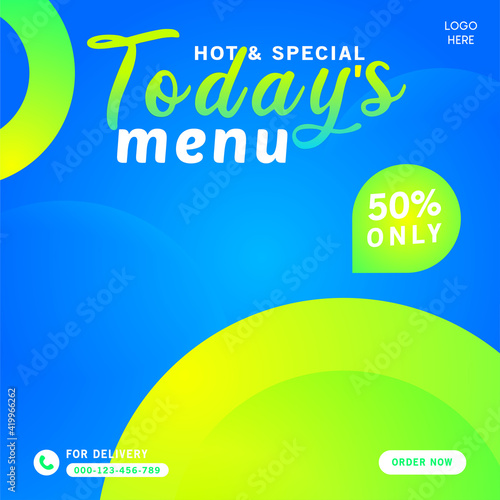 Fototapeta Hot and special today's menu for social media post template
