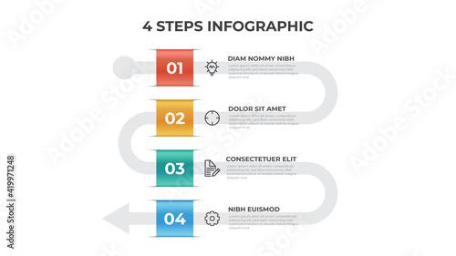 Fényképezés 4 points of steps, arrow list flow diagram layout vector, infographic template e