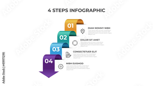 Canvas-taulu 4 points of steps, infographic element template, arrow flow with number diagram