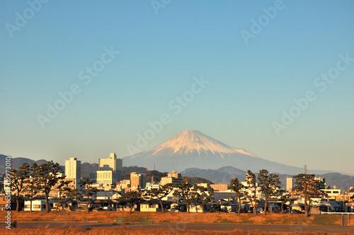 夕日に映える富士山と静岡市 Wallpaper Mural