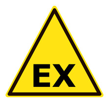 ATEX Explosive Atmosphere Area Zone Warning. Danger Of A Potentially Explosive Atmosphere Sign. Explosive Atmosphere Symbol.