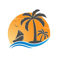 Sailboat And An Island With Palm Trees On The Background Of The Sun. Vector Illustration For Logo, Emblem, Sticker And Creative Design