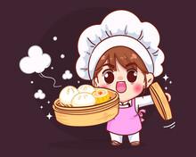 Cute Chef Holding Chinese Dumplings Dim Sum In A Bamboo Steamer Cartoon Illustration