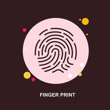 Finger Print Investigation On Brown Background Flat Concept Design