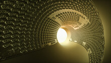 3D Abstract Tunnel With Textured Walls. Light At The End Of The Tunnel. 3d Render Illustration