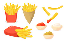 French Fries Set White Background Illustration