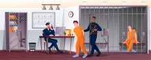 Policemen And Prisoners In Police Station Scene. Security Department Vector Illustration. Man Sitting In Cell Jail, Guard With Gun Leading Suspect, Guy At Desk Computer With Phone