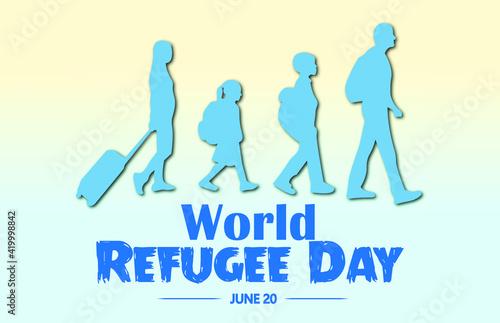 Fototapeta World Refugee Day, Vector Illustration.