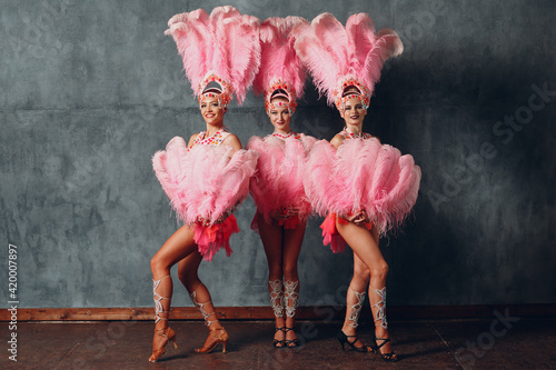 Fotografie, Obraz Three Women in cabaret costume with pink feathers plumage
