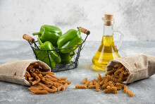 Dietic Pastas In Baskets With Green Peppers And Olive Oil