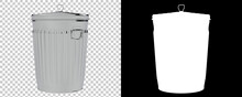Metallic Trash Bin Isolated On Background With Mask. 3d Rendering - Illustration