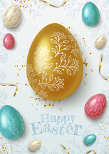 Easter Greeting Background With Realistic Golden, Blue And White Easter Eggs. Vector