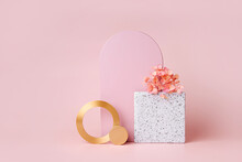 Pink Arch And Golden Rounds With Flowers On A Pink Background.  Stylish  Background With Geometric Shapes For Cosmetic Product Presentation