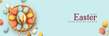 Festive Easter Horizontal Banner, Template Header For Website. Realistic 3d Design Elements. Spring Holiday. Easter Eggs In Basket. View From Above. Blue Background. Vector Illustration
