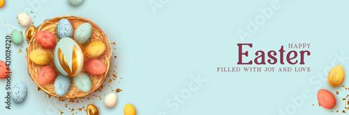 Festive Easter horizontal banner, template header for website Wallpaper Mural