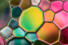 Water Bubbles Abstract Colorful  Background, Water Drops Macro As Natural Stained Glass Backgound.