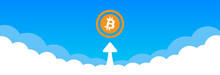 Concept Of Bitcoin Crypto-currency Flying To The Sky Vector Illustration.