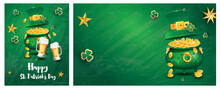 Saint Patricks Day Festive Banner Set With Pot Filled Golden Coins, Two Bear Glass, Green Top Hat.