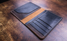 Stylish Handmade Leather Men's Wallet. Genuine Leather Craft. Hand Made Craft.