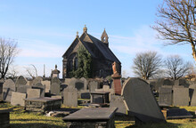An Old, Disused Church Surrounded By Gravestones On A Winter's Day In Ffestiniog, Gwynedd, Wales, UK.