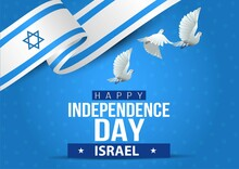 Happy Independence Day Israel. Flying  Dove With Israel Flag. Vector Illustration