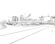 Orlando. Florida. USA. Hand Drawn.Unusual Street Sketch, Vector Illustration