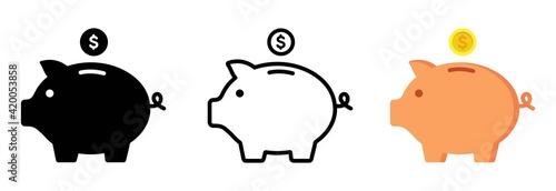 Piggy bank icon Wallpaper Mural