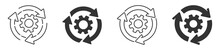 Sync Process Icon, Gear Wheel With Arrow Line Icon, Gear Rotate Isolated On White Background, Vector Illustration