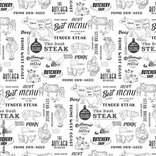 Hand drawn meat, steak, beef and pork, lamb seamless pattern Fotobehang