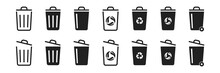 Trash Bin Icon Set On White Background. Vector Illustration Design. Garbage Or Rubbish Icon Collection.
