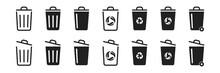 Trash Bin Icon Set On White Background. Vector Illustration Design. Garbage Or Rubbish Icon Collection.