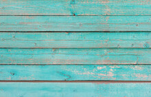 Wooden Background, Old Wooden Wall, Painted Blue, With Slits And Nails.