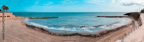 Panoramic view of a beach in the mediterranean village of Ametlla de mar, in Tarragona. Spain